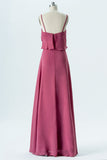 Dusty Rose Sweetheart Spaghetti Sleeveless Floor Length Bridesmaid Dresses,Mid Back Chiffon Bridesmaid Gown OMB18