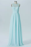 Mint Green Sheer Sleeveless Floor Length Bridesmaid Dresses,Chiffon Appliques Bridesmaid Gown