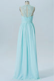 Mint Green Sheer Sleeveless Floor Length Bridesmaid Dresses,Chiffon Appliques Bridesmaid Gown OMB19 - Ombreprom