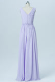 Lavender Floor Length Sleeveless Bridesmaid Dresses,V Neck Chiffon Bridesmaid Gown OMB02