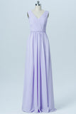 Lavender Floor Length Sleeveless Bridesmaid Dresses,V Neck Chiffon Bridesmaid Gown