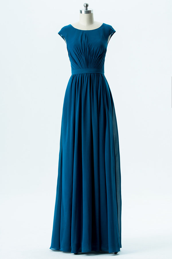 Winter Teal Capped Sleeve Floor Length Bridesmaid Dresses,Simple Chiffon Bridesmaid Gown