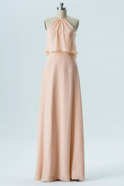 Blush Halter Floor Length Bridesmaid Dresses,Sleeveless Chiffon Bridesmaid Gown OMB21 - Ombreprom