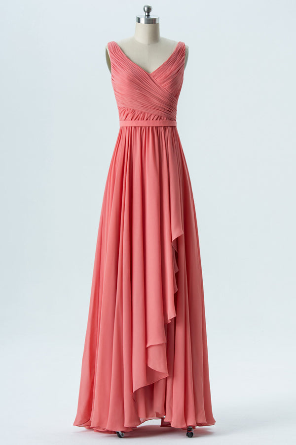 Dusty Coral V Neck Floor Length Bridesmaid Dresses,Sleeveless Ruffle Chiffon Bridesmaid Gown