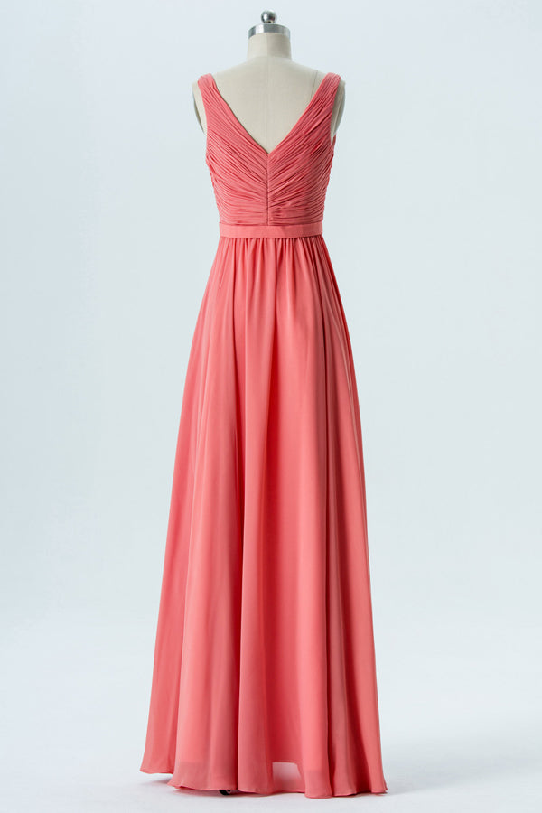 Dusty Coral V Neck Floor Length Sleeveless Ruffle Chiffon Bridesmaid Dresses OMB22