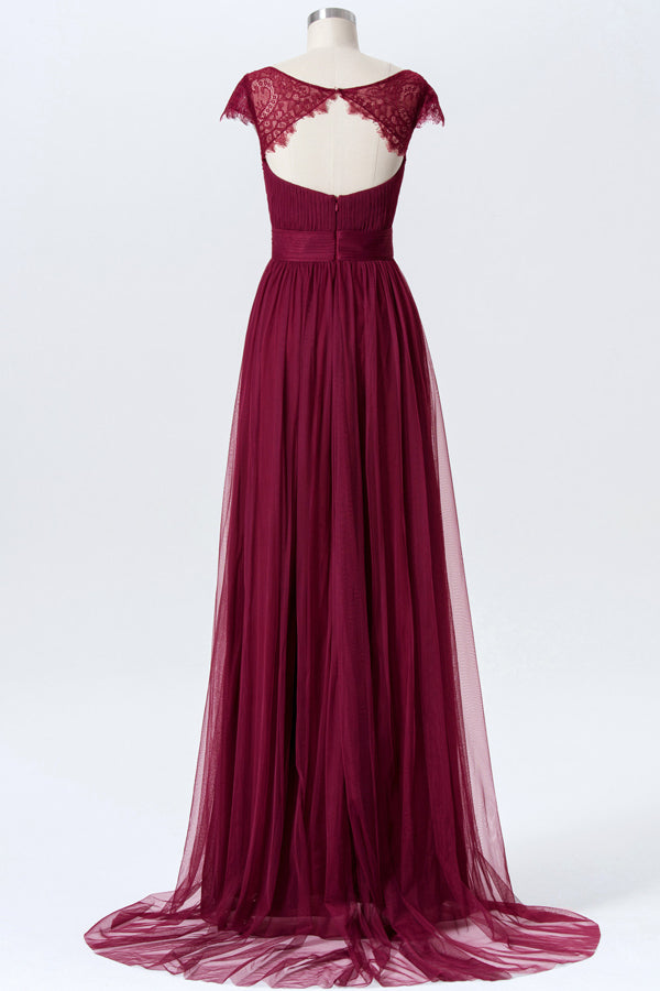 Deep Claret Sweetheart Floor Length Bridesmaid Dresses,Capped Sleeve Keyhole Back Chiffon Bridesmaid Gown OMB23 - Ombreprom