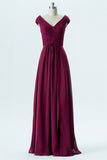 Burgundy V Neck Floor Length Bridesmaid Dresses,Capped Sleeve V Back Chiffon Bridesmaid Gown OMB24 - Ombreprom