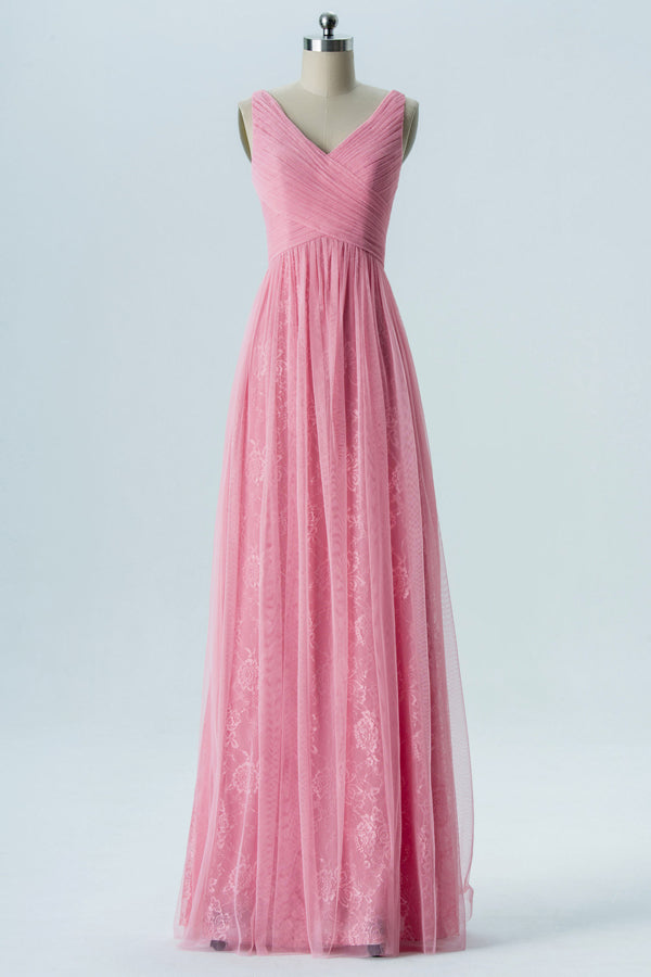 English Rose V Neck Floor Length Bridesmaid Dresses,Sleeveless Mid Back Chiffon Bridesmaid Gown