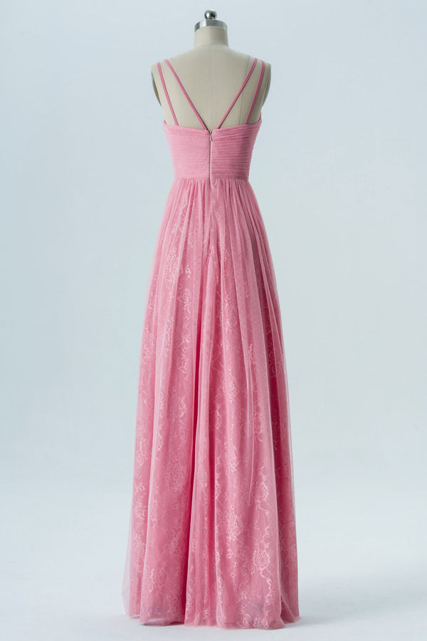 English Rose V Neck Floor Length Bridesmaid Dresses,Sleeveless Mid Back Chiffon Bridesmaid Gown OMB25