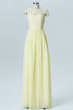 Tender Yellow Capped Sleeve Floor Length Bridesmaid Dresses,Sheer Lace Appliques Chiffon Bridesmaid Gown