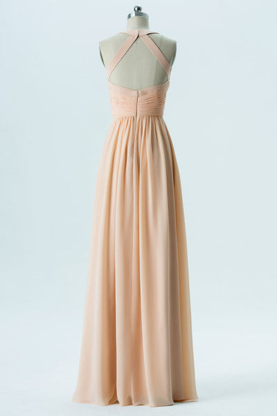 Blush Sweetheart Floor Length Bridesmaid Dresses,Keyhole Back Chiffon Bridesmaid Gown OMB27 - Ombreprom