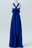 Classic Blue Sleeveless Floor Length Bridesmaid Dresses,X Back Chiffon Bridesmaid Gown OMB28 - Ombreprom