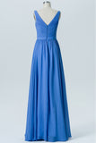 Blue Topaz V Neck Sleeveless Floor Length Bridesmaid Dresses,V Back Chiffon Bridesmaid Gown OMB29 - Ombreprom