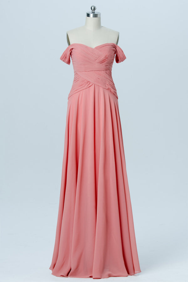 Pink Floor Length Sleeveless Bridesmaid Dresses,Off Shoulder Chiffon Bridesmaid Gown