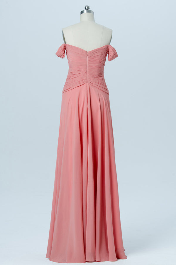 Pink Floor Length Sleeveless Bridesmaid Dresses,Off Shoulder Chiffon Bridesmaid Gown OMB03 - Ombreprom