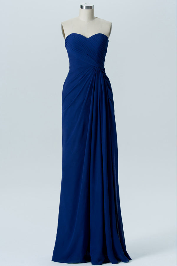 Twilight Blue Sweetheart Strapless Floor Length Bridesmaid Dresses,Mid Back Chiffon Bridesmaid Gown
