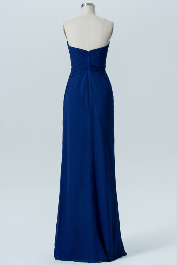 Twilight Blue Sweetheart Strapless Floor Length Bridesmaid Dresses,Mid Back Chiffon Bridesmaid Gown OMB30 - Ombreprom