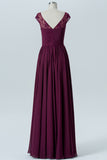 Deep Claret Sheer Capped Sleeve Floor Length Bridesmaid Dresses,V Back Chiffon Bridesmaid Gown OMB31 - Ombreprom