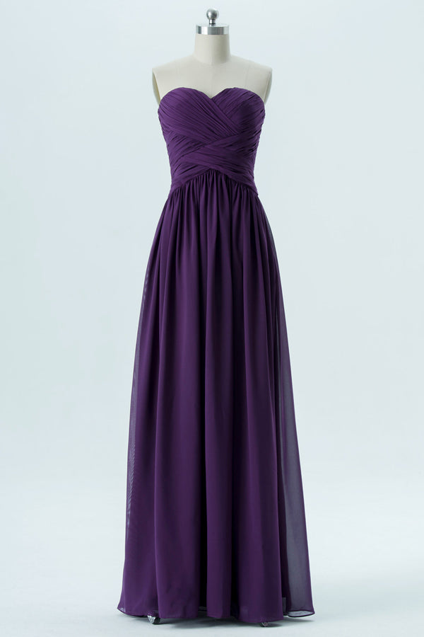 Plum Purple Sweetheart Strapless Floor Length Bridesmaid Dresses,Mid Back Chiffon Bridesmaid Gown