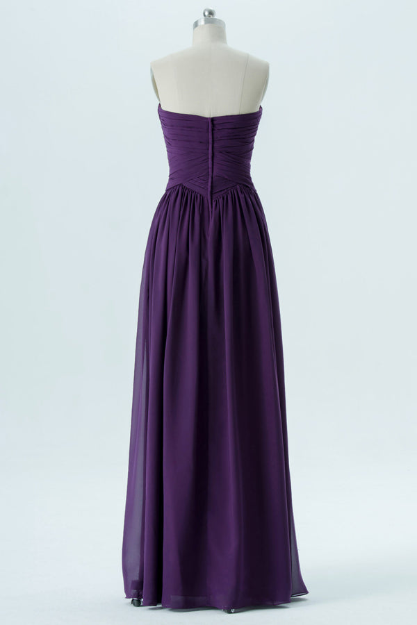 Plum Purple Sweetheart Strapless Floor Length Mid Back Chiffon Bridesmaid Dress OMB32 - Ombreprom