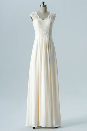 Ivory Scoop Capped Sleeve Floor Length Bridesmaid Dresses,Keyhole Back Lace Appliques Chiffon Bridesmaid Gown