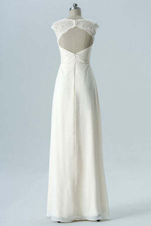 Ivory Capped Sleeve Floor Length Keyhole Back Lace Appliques Chiffon Bridesmaid Dress OMB33