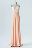 Apricot Blush Sweetheart Spaghetti Sweep Train Low Back Appliques Chiffon Bridesmaid Gown OMB34 - Ombreprom