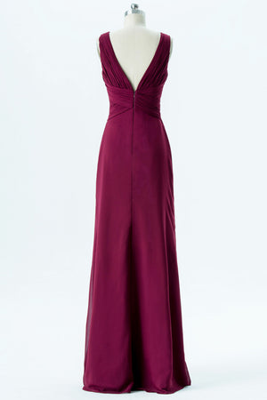Burgundy V Neck Floor Length Bridesmaid Dresses,Deep V Back Chiffon Bridesmaid Gown OMB36 - Ombreprom