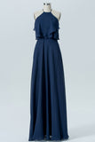 Midnight Navy Halter Floor Length Bridesmaid Dresses,Backless Chiffon Bridesmaid Gown
