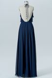 Midnight Navy Halter Floor Length Bridesmaid Dresses,Backless Chiffon Bridesmaid Gown OMB37 - Ombreprom
