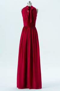 Deep Claret Halter Floor Length Bridesmaid Dresses,Bowknot Chiffon Bridesmaid Gown OMB38 - Ombreprom