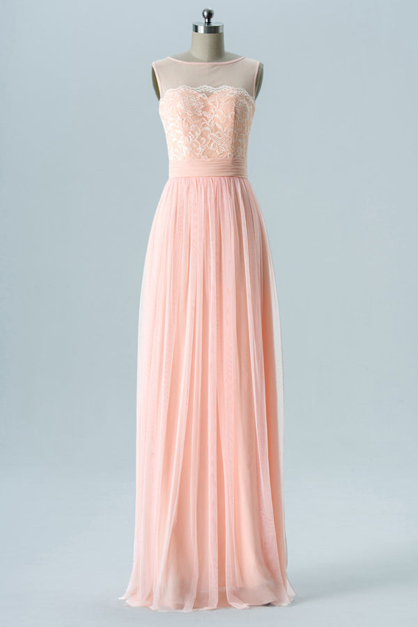 Blush Boat Floor Length Tulle Up Sheer Back Lace Appliques Chiffon Bridesmaid Dress OMB39 - Ombreprom