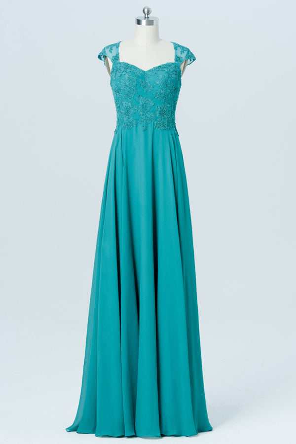 Green Floor Length Capped Sleeve Bridesmaid Dresses,Sweetheart Chiffon Appliques Bridesmaid Gown