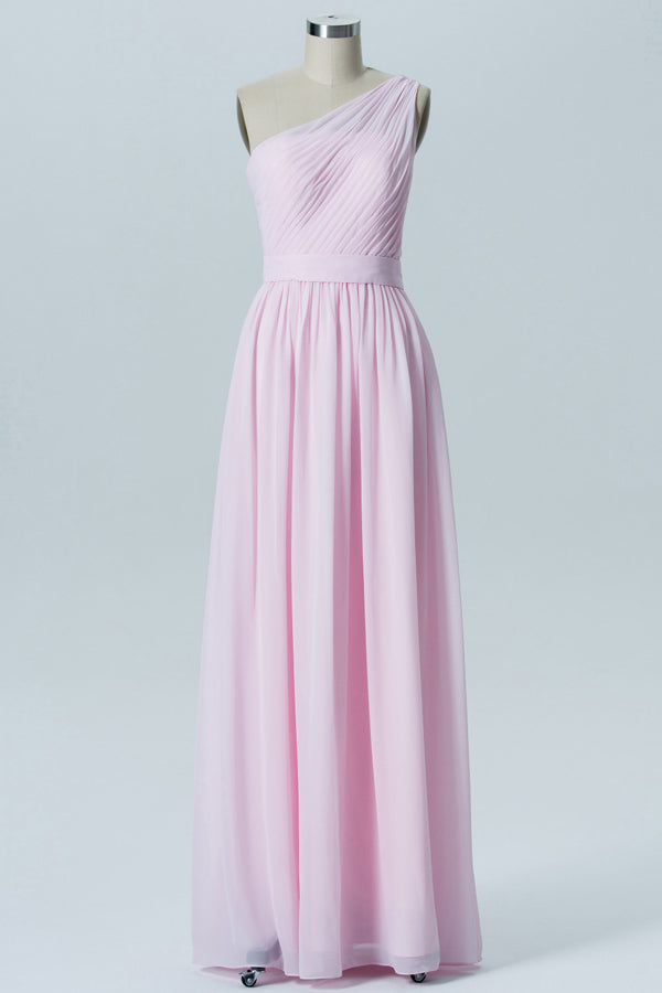 Barely Pink One Shoulder Floor Length Bridesmaid Dresses,Simple Chiffon Bridesmaid Gown OMB40 - Ombreprom