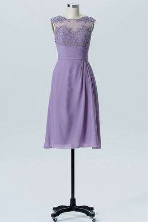 Pastel Lilac Boat Knee Length Bridesmaid Dresses,Sheer Back Lace Appliques Chiffon Bridesmaid Gown