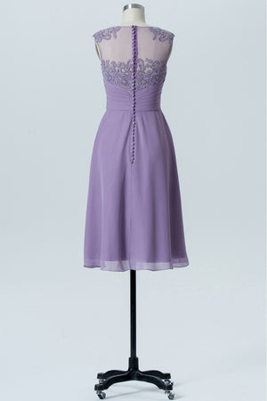 Pastel Lilac Boat Knee Length Sheer Back Lace Appliques Chiffon Bridesmaid Dress OMB41 - Ombreprom