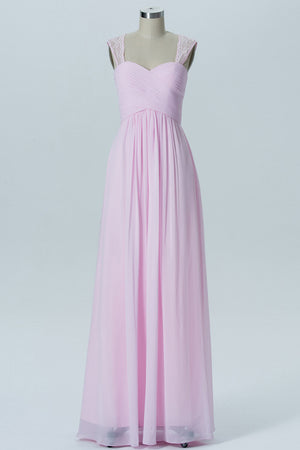 Barely Pink Sweetheart Floor Length Bridesmaid Dresses,Lace Straps Sheer Back Chiffon Bridesmaid Gown OMB44 - Ombreprom