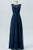 Midnight Navy Sheer Floor Length Bridesmaid Dresses,Open Back Chiffon Bridesmaid Gown