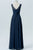 Midnight Navy Sheer Floor Length Bridesmaid Dresses,Open Back Chiffon Bridesmaid Gown OMB45 - Ombreprom