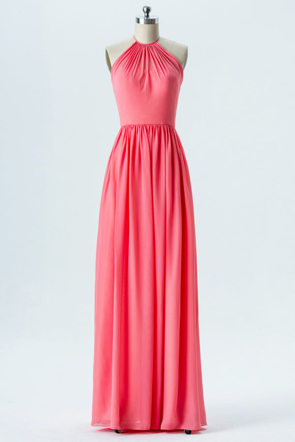 Spiced Coral Halter Floor Length Bridesmaid Dresses,Open Back Chiffon Bridesmaid Gown