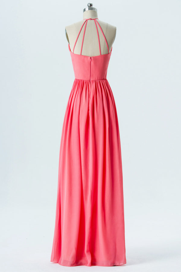 Spiced Coral Halter Floor Length Bridesmaid Dresses,Open Back Chiffon Bridesmaid Gown OMB47