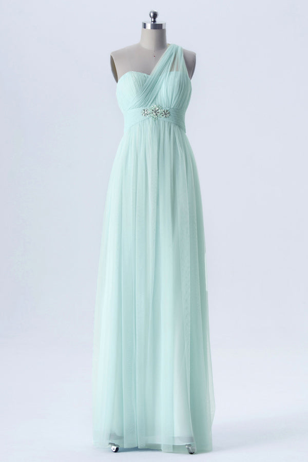 Mint Green Changeable Straps Bridesmaid Dresses,Tulle Up Chiffon Bridesmaid Gown