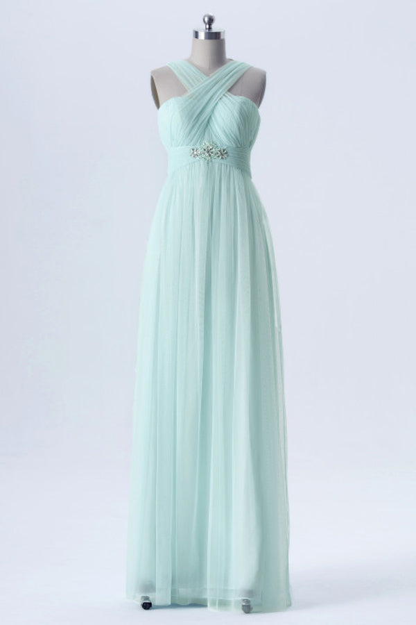 Mint Green Changeable Straps Bridesmaid Dresses,Tulle Up Chiffon Bridesmaid Gown OMB49 - Ombreprom