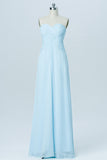 Light Blue Floor Length Bridesmaid Dresses,Sweetheart Strapless Mid Back Bridesmaid Gown