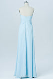 Light Blue Floor Length Bridesmaid Dresses,Sweetheart Strapless Mid Back Bridesmaid Gown OMB05