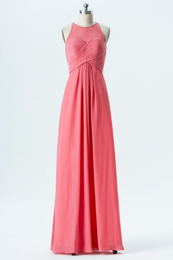 Coral Sheer Sleeveless Bridesmaid Dresses,Open Back Sheath Bridesmaid Gown OMB51 - Ombreprom