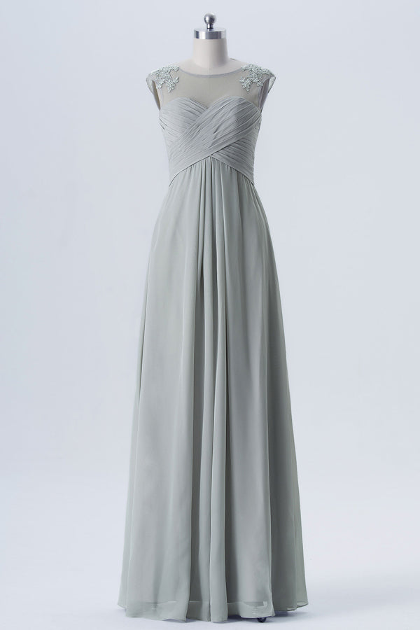 Storm Grey Sheer Capped Sleeve Bridesmaid Dresses,Open Back Sheath Bridesmaid Gown