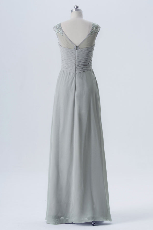 Storm Grey Sheer Capped Sleeve Bridesmaid Dresses,Open Back Sheath Bridesmaid Gown OMB52