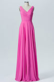 Pink Carnation V Neck Long Bridesmaid Dresses,Open Back Sleeveless Cheap Bridesmaid Gown