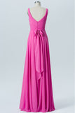 Pink Carnation V Neck Long Bridesmaid Dresses,Open Back Sleeveless Cheap Bridesmaid Gown OMB53 - Ombreprom